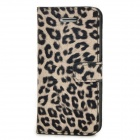 Fashionable Leopard Pattern PU + Plastic Case w/ Holder + Card Slot for Iphone 5C - Black + Grey