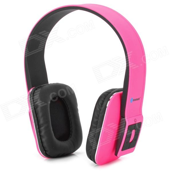 AT-BT803 Bluetooth v3.0 + EDR Stereo Headphones w/ Microphone - Deep Pink + Black gucee g868 bluetooth v2 1 edr stereo headphones w microphone green white