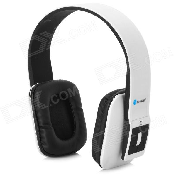 AT-BT803 Bluetooth v3.0 + EDR Stereo Headphones w/ Microphone - White + Black gucee g868 bluetooth v2 1 edr stereo headphones w microphone green white