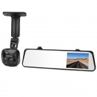 "6000A 1080p 3.0MP + 720P 1.3MP Car DVR Camcorder w/ 4.3"" TFT Rearview Mirror Monitor, GPS - Black"