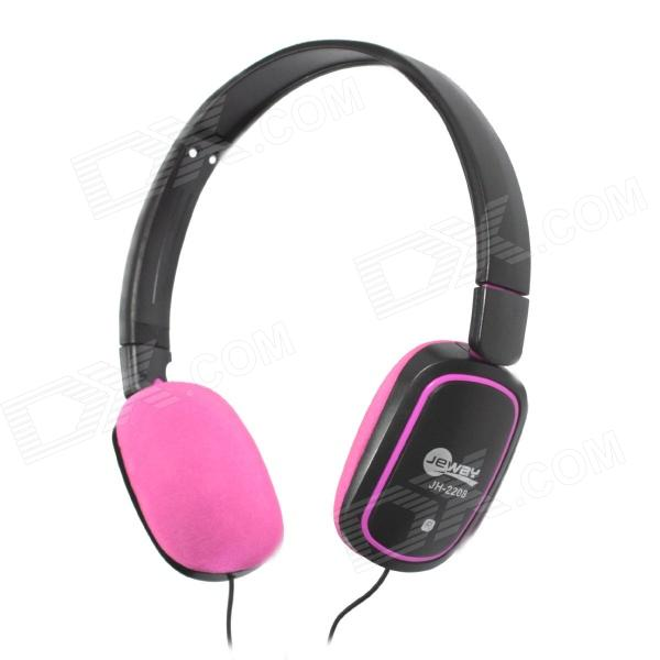 Jeway JH-2208 Music Stereo Headphones w/ Microphone - Black + Deep Pink (3.5mm Plug / 180cm-Cable) g925 high quality gaming headset studio wire earphones computer stereo deep bass over ear headphone with microphone for pc gamer
