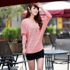 Low Round Neck Batwing Sleeve Women's Sweater Coat - Pink (Free Size)