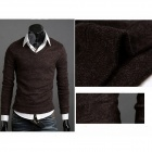 Stylish Men's Slim Fit Knitwear Sweater - Coffee (Size-XL)