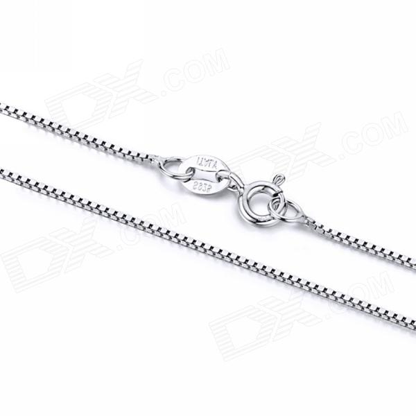 eQute CSIW16S2 S925 Sterling Silver Chain Necklace - Silver (18) equte s925 sterling silver long six sides cylindrical chain necklace silver 16