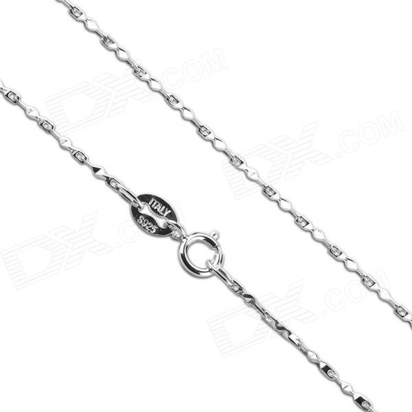 eQute CSIW22S1 S925 Sterling Silver Triangle Chain Necklace - Silver (16) equte s925 sterling silver long six sides cylindrical chain necklace silver 16