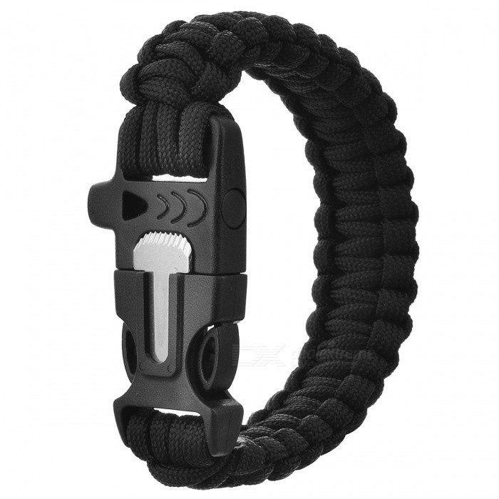 Survival Reflective Bracelet w/ Whistle - Black