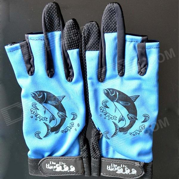 Outdoor-Fishing Anti-Skid-Handschuhe - Blau + Schwarz