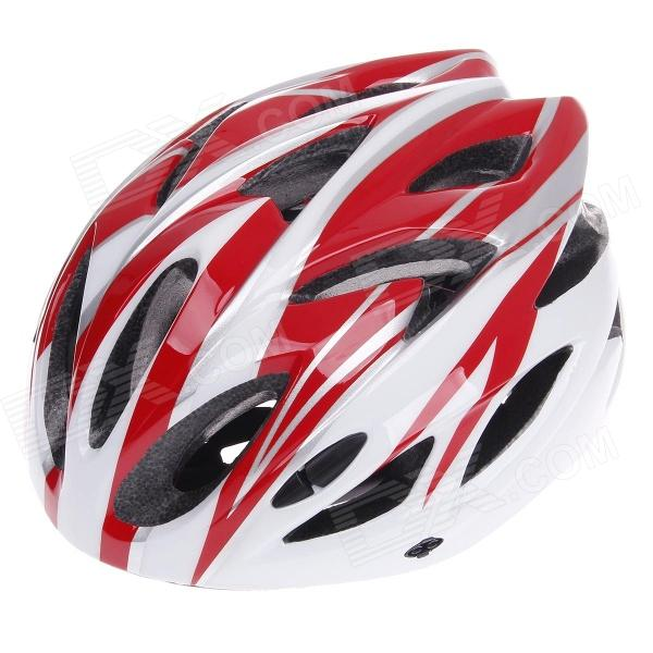 TITANS CG03DG-003 Outdoor Bicycle Cycling Helmet - Red + White (Size-L)