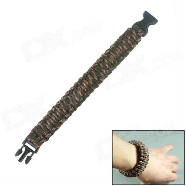 Survival Bracelet - Camouflage bracelet style nylon stainless steel outdoor survival emergency rope army green brown