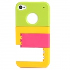 Multifunction Protective Back Case w/ Stand for Iphone 4 / 4S - Green + Yellow + Deep Pink + White