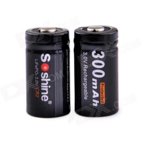 Soshine CR2 3.0V 300mAh LiFePO4 Rechargeable Batteries w/ Case - Black (2 PCS) no taxes 4pcs lot rechargeable lifepo4 12v 100ah lithium ion battery for ev and solar street light electric bike golf car