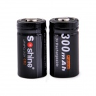 Soshine CR2 3.0V 300mAh LiFePO4 Rechargeable Batteries w/ Case - Black (2 PCS)