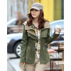 Fashionable Ladies Slim Fit Coat - Army Green (Size-L)