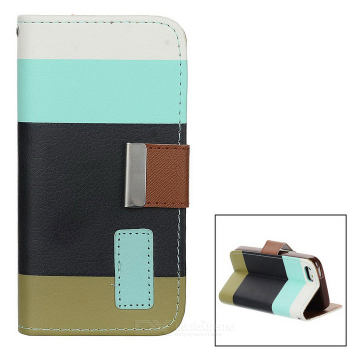 ZC001 Fashionable Joint Color PU + Plastic Case w/ Card Slot + Holder for Iphone 5C - Multicolored