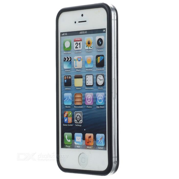 Protective TPU+PC Bumper Frame for Iphone 5S / 5c - Black + Transparent