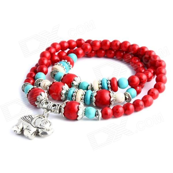 eQute BOTW7C4 Artificial Red Coral Turquoise Elephant Charm Women's Bracelet - Red + Green + Silver