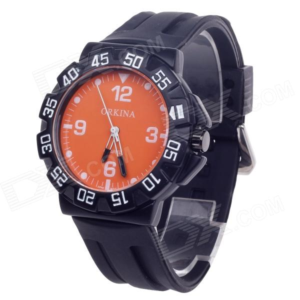 ORKINA W004 Fashionable Rubber Band Quartz Wrist Watch for Men - Black + Orange (1 x LR626)