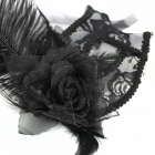 Ostrich Hair Style Lace Party Women's Mask - Black