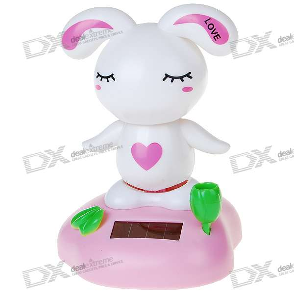 Solar Powered Love Rabbit Shaking and Swaying Desktop Toy