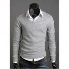 British Style Cotton Slim Fit Men's Knitwear - Grey (Size-XL)