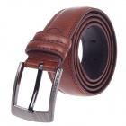Fashionable Waxy Cow Leather Men's Waist Belt w/ Zinc Alloy Buckle - Brown (110~125cm)