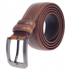 Fashionable Men's Waxy Cow Leather Belt - Coffee + Silver (110~125cm)
