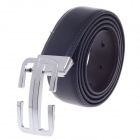 Fashionable Men's Cow Split Leather Belt - Black +Silver (110~125cm)