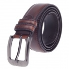 Fashionable Men's Waxy Cow Leather Belt w/ Zinc Alloy Buckle - Brown + Silver (110~125cm)