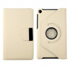 360' Rotation Protective Carbon Fiber Cloth + PC Case Cover Stand for Google Nexus 7 II - White