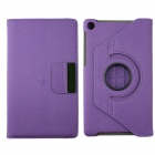 360' Rotation Protective Carbon Fiber Cloth + PC Case Cover Stand for Google Nexus 7 II - Purple