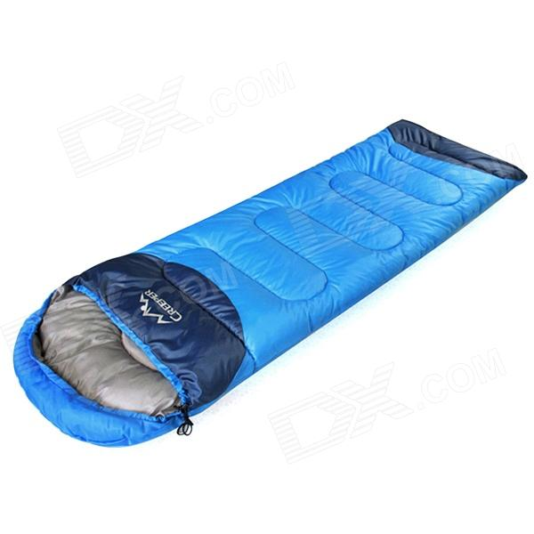 Creeper CR-SL-002 Outdoor Envelope Style Camping Sleeping Bag w/ Hood - Royalblue + Dark Blue