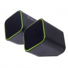 SunRose YJ-790 USB Powered 2-CH Speakers for Desktop / PC - Black + Green (2 PCS)