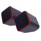 SunRose YJ-790 USB Powered 2-CH Speakers for Desktop / PC - Black + Red (2 PCS)