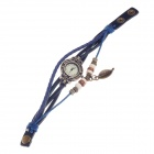 Tingyi Stylish Retro PU Leather + Rope Band Quartz Wrist Watch for Women - Blue + Bronze (1 x LR626)