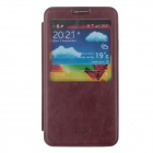 SHS Protective PU Leather Case Cover w/ Visual Window for Samsung Galaxy Note 3 N9000 - Brown