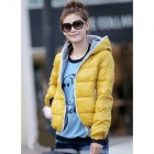 BNY-244266 Casual Cold-proof Keep Warm Hooded Coat for Women - Yellow (Free size)