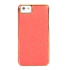 TOTALSTAR TS-03-2 Lychee Grain Style Genuine Leather Case for Iphone 5 / 5s - Orange + Golden