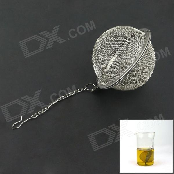 Stainless Steel Round Shaped Tea Strainer Filter - Silver