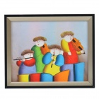 Music-lovers Family Pattern Handmade Oil Painting with Wood Frame - Multicolored