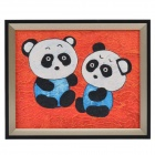 SYVIO Two Bears Pattern Handmade Oil Painting with Wood Frame - Multicolored