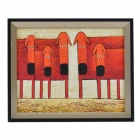 SYVIO Cattle Family Pattern Handmade Oil Painting with Wood Frame - Red