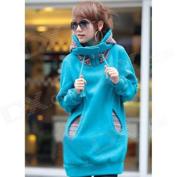 YLY-XJ1C2-A-0231# Woman's Fashionable Cotton + Fleece Warm Hoodie w/ Cap - Blue