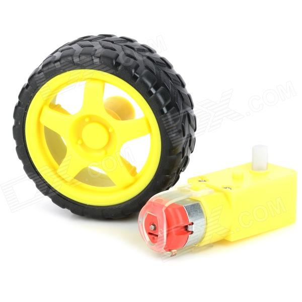 TT-02 DIY Car Model TT Motor Encoder w/ Wheel - Black + Yellow
