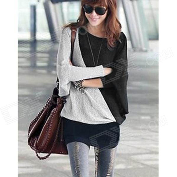 SSY-1009 Fashion Ladies' Loose Bat Sleeve T-shirt - Grey + Black (Free size)