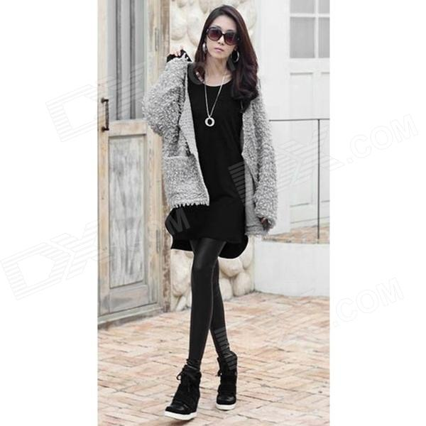 YA5051 Casual Ladies' Loose Long Sleeves Bottoming Shirt - Black (M size) канва с рисунком для вышивания бисером hobby