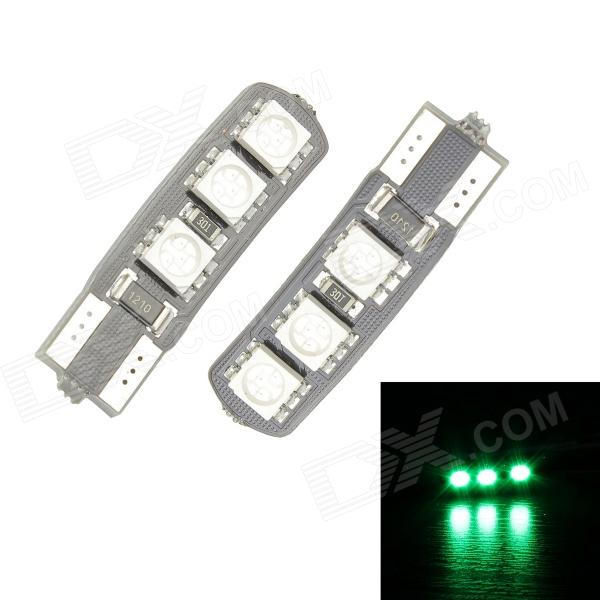 Merdia T10 3.5W 60lm 55nm 6-SMD 5050 LED Green Canbus Decoded Car License Plate Light - (Pair / 12V) merdia t10 0 5w 10lm 1 x smd 5050 led green light car tail light 12v 2 pcs