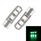 Merdia T10 3.5W 60lm 55nm 6-SMD 5050 LED Green Canbus Decoded Car License Plate Light - (Pair / 12V)