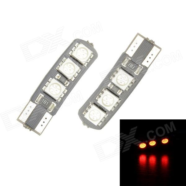 Merdia T10 3.5W 60lm 700nm 6-SMD 5050 LED Red Canbus Decoded Car License Plate Light - (Pair / 12V) 2pcs 12v led license plate light number plate bulbs lamp for ford fiesta focus kuga c max mondeo galaxy grand car light