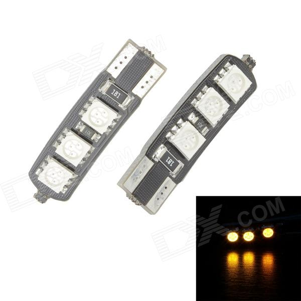 Merdia T10 3.5W 60lm 570nm 6-SMD 5050 LED Yellow Canbus Decoded Car License Plate Light - (Pair) 2x canbus 3528smd led license plate light number plate lamp car light bulbs for opel vectra c estate 2002 2008 car light source