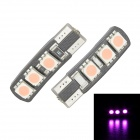 Merdia T10 3.5W 60lm 6-SMD 5050 LED Pink Light Canbus Decoded Car License Plate Light - (Pair / 12V)